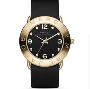 Marc by Marc Jacobs Gold & Black Leather Amy Watch